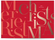 This is a red foil stamped holiday card by Phrosne Ras called christmas puzzle with foil-pressed printing on signature in standard.