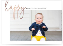 This is a white foil stamped holiday card by Erin Deegan called happy happy new year with foil-pressed printing on smooth signature in standard.