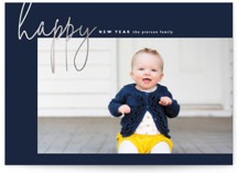 This is a blue foil stamped holiday card by Erin Deegan called happy happy new year with foil-pressed printing on smooth signature in standard.