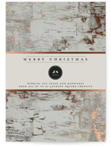 This is a grey foil stamped holiday card by Heather Schertzer called Gilded birch bark with foil-pressed printing on signature in standard.
