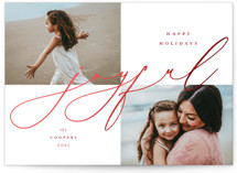 This is a red foil stamped holiday card by Emily Betts called Joyful Overlap with foil-pressed printing on smooth signature in standard.