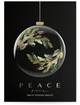 This is a black foil stamped holiday card by silverscreen studio called florentine orb with foil-pressed printing on signature in standard.