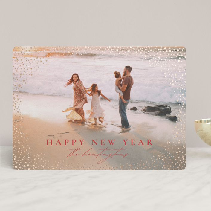 """""""Snow Flurries"""" - Bohemian Foil-pressed Holiday Cards in Winter Rose by Wildfield Paper Co."""