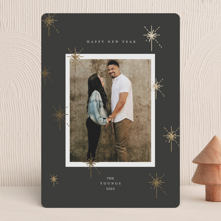"""""""New year sparks"""" - Bohemian Foil-pressed Holiday Cards in Onyx by Geraldine Sales."""