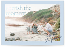 This is a blue foil stamped holiday card by Liz Conley called Cherish the moment with foil-pressed printing on smooth signature in standard.