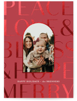 This is a red foil stamped holiday card by Carrie ONeal called Oakley with foil-pressed printing on smooth signature in standard.