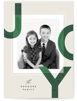 This is a green foil stamped holiday card by Griffinbell Paper Co. called Hand Stitched Joy with foil-pressed printing on smooth signature in standard.