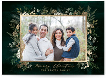 This is a green foil stamped holiday card by Susan Moyal called Classic Greenery with foil-pressed printing on smooth signature in standard.