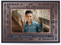 This is a blue foil stamped holiday card by Annie Mertlich called Deco Frame with foil-pressed printing on smooth signature in standard.