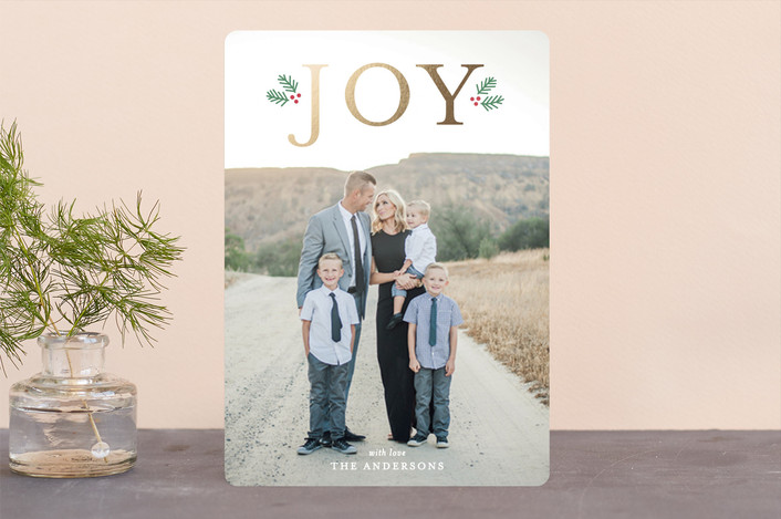 """""""Holiday Joy"""" - Foil-pressed Holiday Cards in Gold by Little Print Design."""