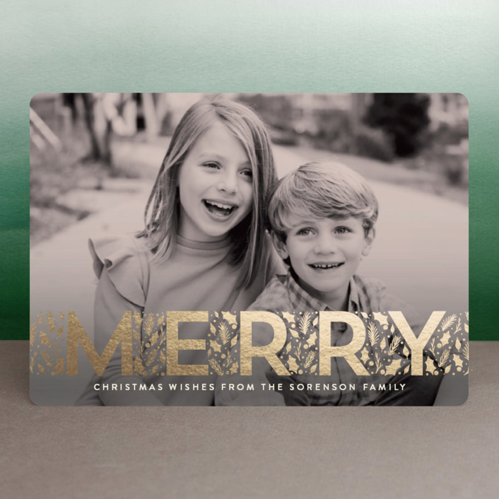 """""""Merry Little Leaves"""" - Foil-pressed Holiday Cards in Nutmeg by GeekInk Design."""