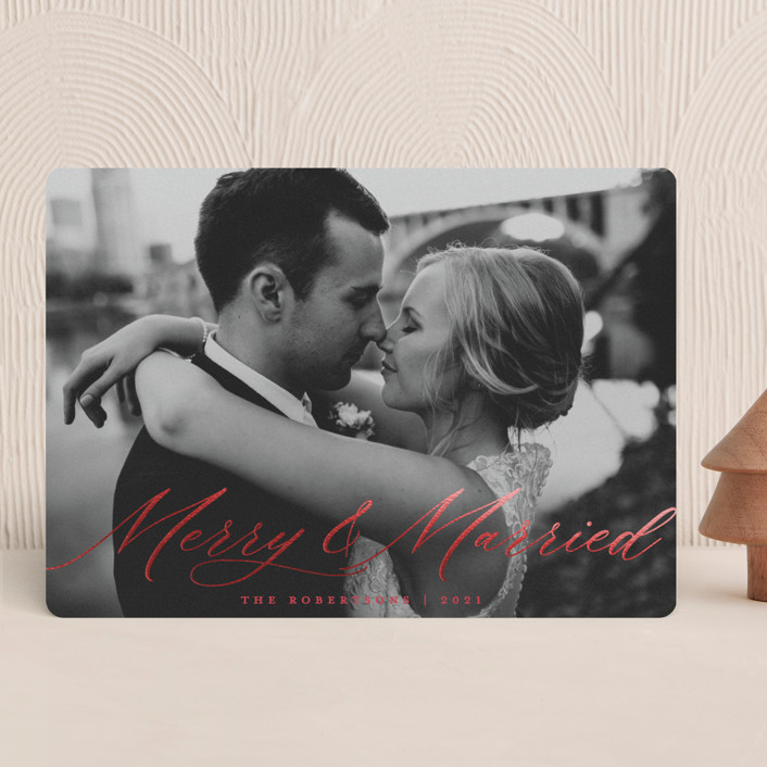 """Merry & Married"" - Foil-pressed Holiday Cards in Cherry by Paper Dahlia."