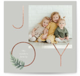 This is a grey foil stamped holiday card by Baumbirdy called Laurel Ring with foil-pressed printing on smooth signature in standard.