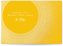 This is a yellow foil stamped holiday card by Owl and Toad called Bright Year Ahead with foil-pressed printing on signature in standard.