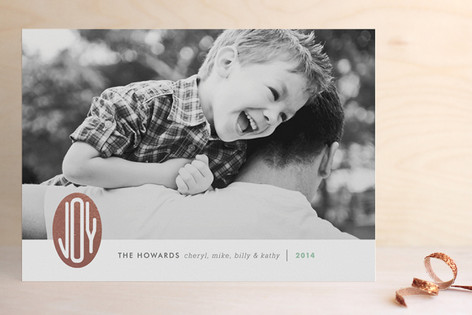 Joy Emblem Foil-Pressed Holiday Cards