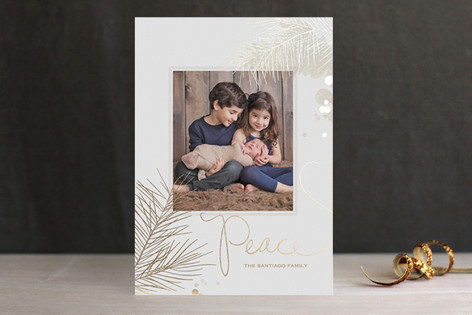 Shimmering Peace Foil-Pressed Holiday Cards