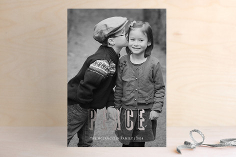 Modern Peace Foil-Pressed Holiday Cards