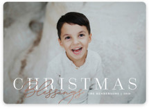 This is a white foil stamped holiday card by Kristen Smith called Christmas Blessings Stacked with foil-pressed printing on smooth signature in standard.