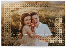 This is a white foil stamped holiday card by Olivia Kanaley Inman called Winter Rattan with foil-pressed printing on smooth signature in standard.