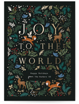 This is a green foil stamped holiday card by Elly called Joyful Forest with foil-pressed printing on signature in standard.