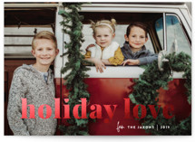 This is a white foil stamped holiday card by Sara Hicks Malone called vintage holiday love with foil-pressed printing on smooth signature in standard.