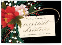 This is a black foil stamped holiday card by Angela Marzuki called festive tag with foil-pressed printing on signature in standard.