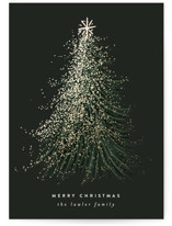 This is a green foil stamped holiday card by Leah Bisch called FROSTED TREE  with foil-pressed printing on signature in standard.