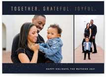This is a blue foil stamped holiday card by Lisa Assenmacher called Together.Grateful.Joyful with foil-pressed printing on smooth signature in standard.