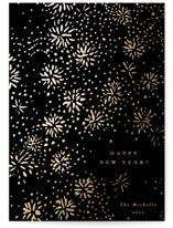 This is a black foil stamped holiday card by Sumak Studio called Sparkling Fireworks with foil-pressed printing on signature in standard.