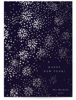 This is a blue foil stamped holiday card by Sumak Studio called Sparkling Fireworks with foil-pressed printing on signature in standard.