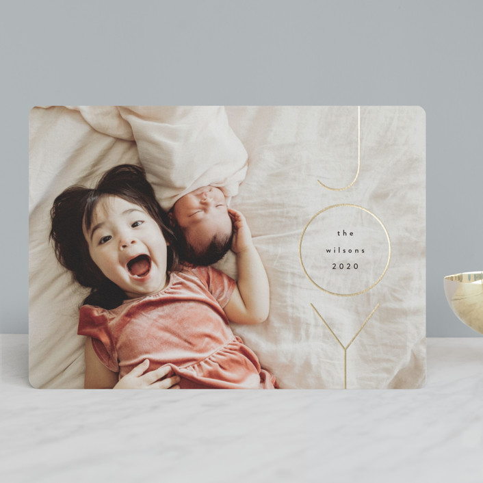 """joyfulness"" - Foil-pressed Holiday Cards in Midnight by Kasia Labocki."