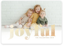 This is a brown foil stamped holiday card by Anna Elder called Joyful Glitter with foil-pressed printing on smooth signature in standard.