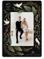 This is a green foil stamped holiday card by Grae called Peacekeepers with foil-pressed printing on smooth signature in standard.