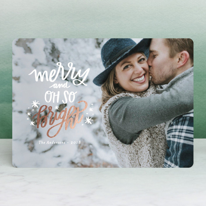 """Sparkle Bright"" - Modern Foil-pressed Holiday Cards in North Star by Little Print Design."