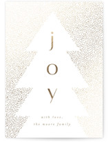 This is a white foil stamped holiday card by AK Graphics called Joyfully Flocked with foil-pressed printing on signature in standard.