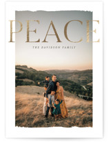 This is a brown foil stamped holiday card by Pixel and Hank called Modern Peace with foil-pressed printing on smooth signature in standard.
