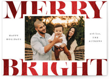 This is a white foil stamped holiday card by Brooke Chandler called Merry & Bright Holiday with foil-pressed printing on smooth signature in standard.