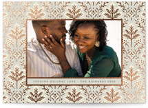 This is a beige foil stamped holiday card by Kimberly Morgan called Pine Pattern with foil-pressed printing on smooth signature in standard.