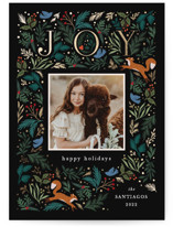 This is a black foil stamped holiday card by Elly called Joyful Forest with foil-pressed printing on smooth signature in standard.