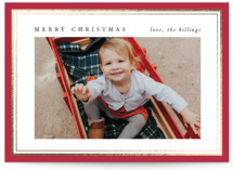 This is a red foil stamped holiday card by Amy Kross called Pinstripe Edge with foil-pressed printing on smooth signature in standard.