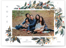 This is a green foil stamped holiday card by Shannon Chen called Watercolor Wreath with foil-pressed printing on smooth signature in standard.