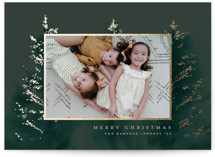 This is a green foil stamped holiday card by Petra Kern called Magic Forrest with foil-pressed printing on smooth signature in standard.