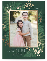 This is a green foil stamped holiday card by Kristie Kern called Verde with foil-pressed printing on smooth signature in standard.