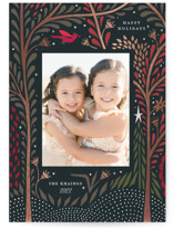 This is a red foil stamped holiday card by Morgan Ramberg called Sparkle Trees with foil-pressed printing on smooth signature in standard.