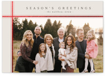 This is a red foil stamped holiday card by Design Lotus called minimalist plaid with foil-pressed printing on smooth signature in standard.