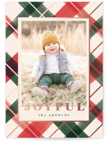 This is a green foil stamped holiday card by Carrie ONeal called Joyful Plaid with foil-pressed printing on smooth signature in standard.