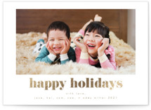 This is a white foil stamped holiday card by AK Graphics called Simple Wishes with foil-pressed printing on smooth signature in standard.