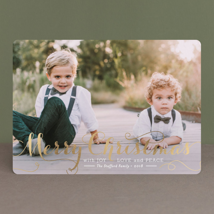 """""""Spirit of Christmas"""" - Full-Bleed Photo, Elegant Foil-pressed Holiday Cards in Gold by Design Lotus."""