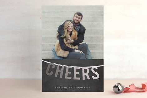 Cheers Garland Foil-Pressed Holiday Cards