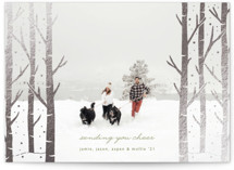 This is a green foil stamped holiday card by Devika Keskar called Holiday Birches with foil-pressed printing on smooth signature in standard.